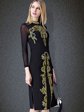 Retro Long Sleeve Long Day Dress