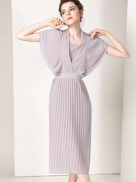 Solid Color Chiffon Long Day Dress