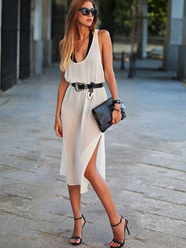 Sleeveless Round Neck Split Women's Day Dress