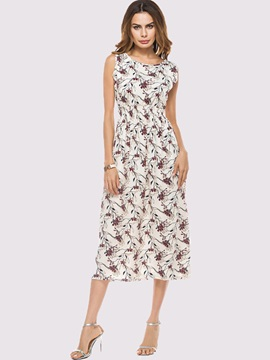 Round Neck Floral Imprint Long Day Dress