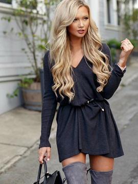 Long Sleeves V Neck Women's Day Dress