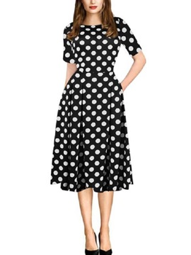 Polka Dots Short Sleeves Women's Skater Dress