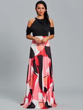 Geometric Print Cold Shoulder Pleated Women's Maxi Dress