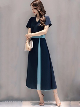 Color Block V-Neck Short Sleeve Women's Maxi Dress