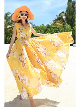 V-Neck Floral Print Sleeveless Women's Chiffon Maxi Dress