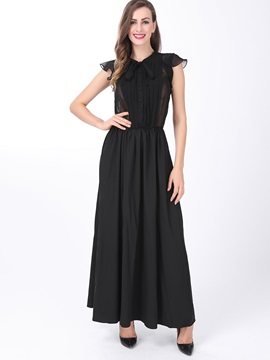 Floor-Length Artificial Silk V-neck Women's Maxi Dress