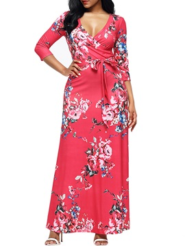Ankle-Length V-neck Trumpet Women's Maxi Dress