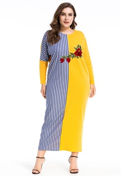 Long Sleeve Embroidery Floral Women's Casual Dress