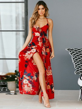 Sleeveless Ankle-Length Print A-Line Floral Women's Maxi Dress