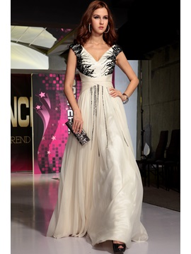 Attractive V-Neck Appliques Cap Sleeves A-Line Long Evening Dress