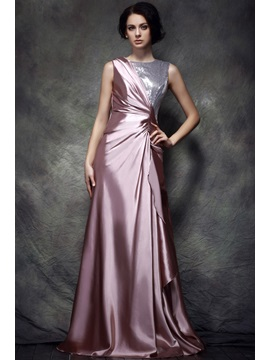 Stylish Bateau Neck A-Line Floor-Length Sequins Polina