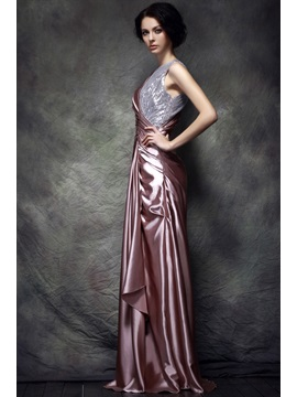 Stylish Bateau Neck A-Line Floor-Length Sequins Polina's Evening Dress