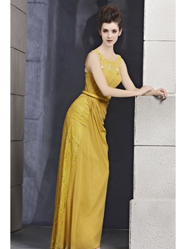 Elegant Sheath Scoop Neckline Sash Lace Floor-Length Evening Dress