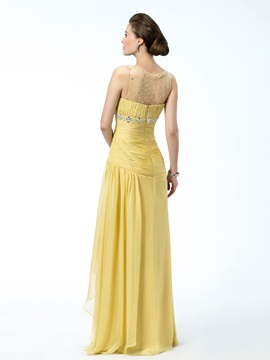 Sheath Tulle Neckline Beading Empire Waist Floor-Length Evening Dress