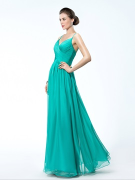 A-Line Criss-Cross Straps Ruched Floor-length Evening Dress