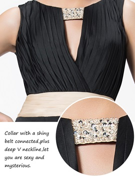 Stylish Ruched Scoop Neck Beading Split-Front Backless Evening Dress Designed