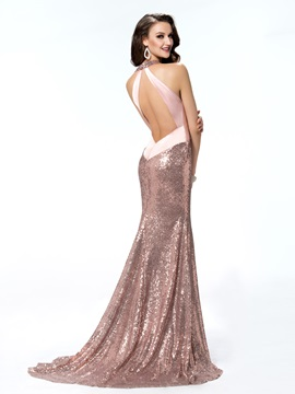 Luxurious Trumpet/Mermaid Backless Sleeveless Halter Bowknot Sequins Evening Dress Designed