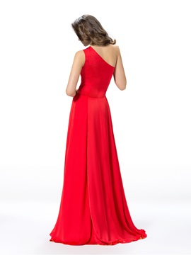 Glorious One-Shoulder Hollow Out Floor-Length Split-Front Evening Dress Designed