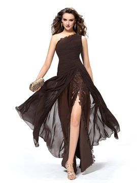 Cool One Shoulder Ruffles Appliques Split-Front Floor-Length Evening Dress