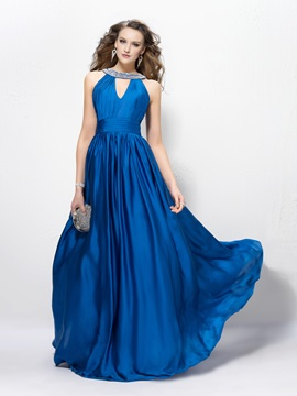 Alluring Sequins Beading A-Line Jewel Neck Floor Length Evening Dress