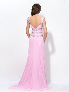 Straps Beading Appliques Zipper-Up Sweep Train Floor-Length Evening Dress