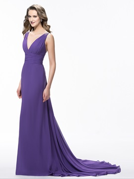 Simple Style V-Neck Court Train Beading A-Line Floor-Length Evening Dress