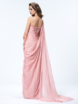 One Shoulder Ruched Sheath Floor Length Watteau Train Flowers Evening Dress