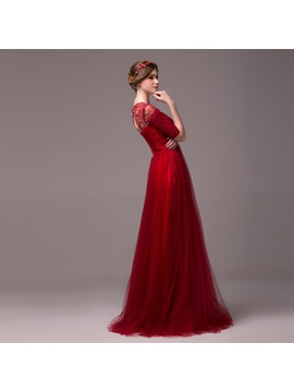 Vintage A-Line Jewel Neck Beading Half Sleeves Lace-up Long Evening Dress