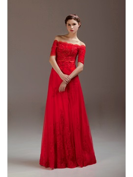 Vintage Off-the-Shoulder Appliques Sequins Half Sleeves Floor-Length Evening Dress