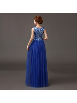 Lace Scoop Neck Beading A-Line Floor-Length Evening Dress