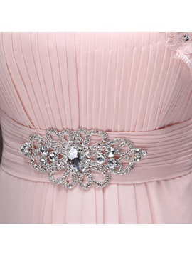 Exquisite Scoop Neckline Crystal Button Appliques A-Line Sweep Train Evening Dress
