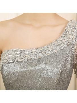 Mermaid One-Shoulder Sequins Beading Evening Dress