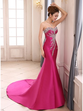 Sweetheart Beading Crystal Mermaid Evening Dress
