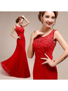 Scoop Neck Lace Little Flowers Lace-up Floor-Length Evening Dress