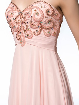 Dazzling A-Line Sweetheart Beading Sweep Train Long Evening Dress