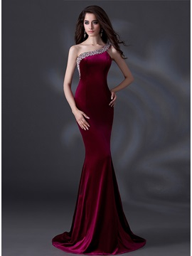 Velvet Mermaid One-Shoulder Beading Evening Dress