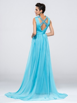 Delicate V-Neck Straps Sequins Split-Front Sweep Train Long Evening Dress Designed