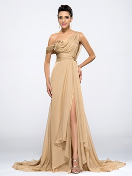 One Shoulder Appliques Split-Front Evening Dress