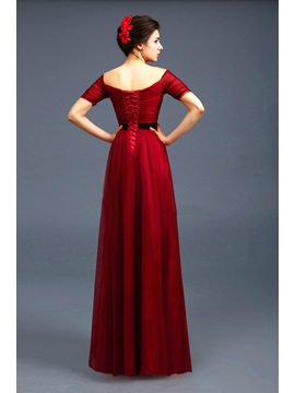 Consice Off-the-Shoulder Short Sleeves Lace-up Floor-Length Evening Dress