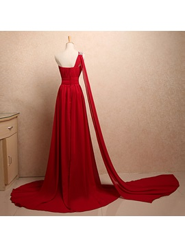 Dazzling One-Shoulder Sequins Beading Pleats A-Line Watteau Train Long Evening Dress