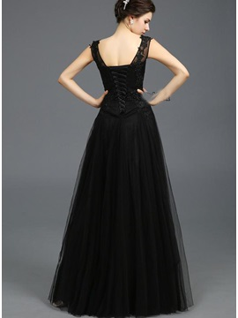 Scoop Neck A-Line Appliques Lace-up Floor-Length Evening Dress