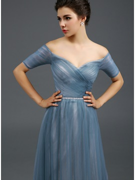 Off-the-Shoulder Ruched Beaded Sash A-Line Long Evening Dress
