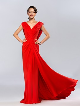 Ladylike V-Neck Draped Ruffles Backless Long Evening Dress