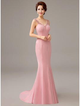 Ladylike Straps Bowknot Pearls Mermaid Sweep Train Evening Dress
