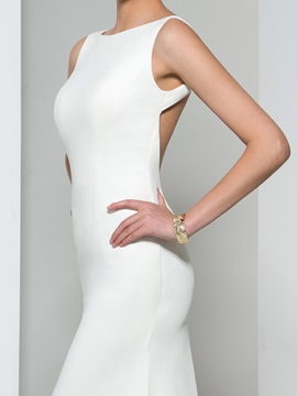 Sexy Backless Straps Sheath Evening Dress