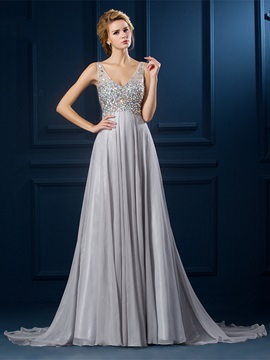 Graceful V-Neck Straps Crystal A-Line Court Train Floor-Length Evening Dress
