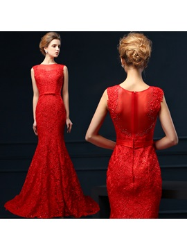 Glamorous Bateau Neck Lace Beading Bowknot Zipper-up Court Train Long Evening Dress