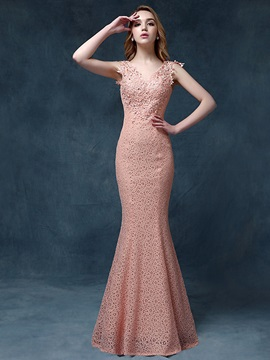 Amazing Mermaid V-Neck Lace Appliques Beaded Lace-up Long Evening Dress