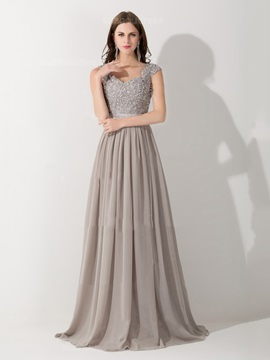 Graceful Straps A-Line Appliques Beading Long Evening Dress
