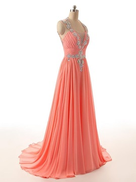 Modern Heart-Shaped Backless Straps Crystal Long Evening Dress